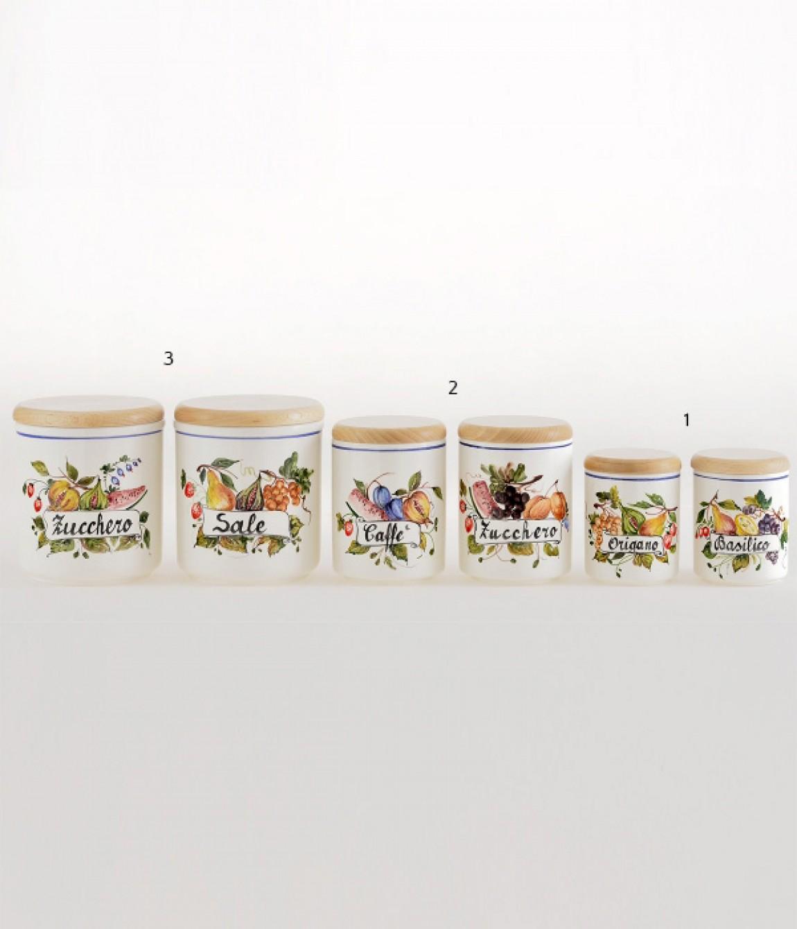 Barattolo Da Cucina 2 Altezza Cm 12 5 Barattolo Da Cucina In Ceramica Decorato A Mano Luxury Ceramics Art