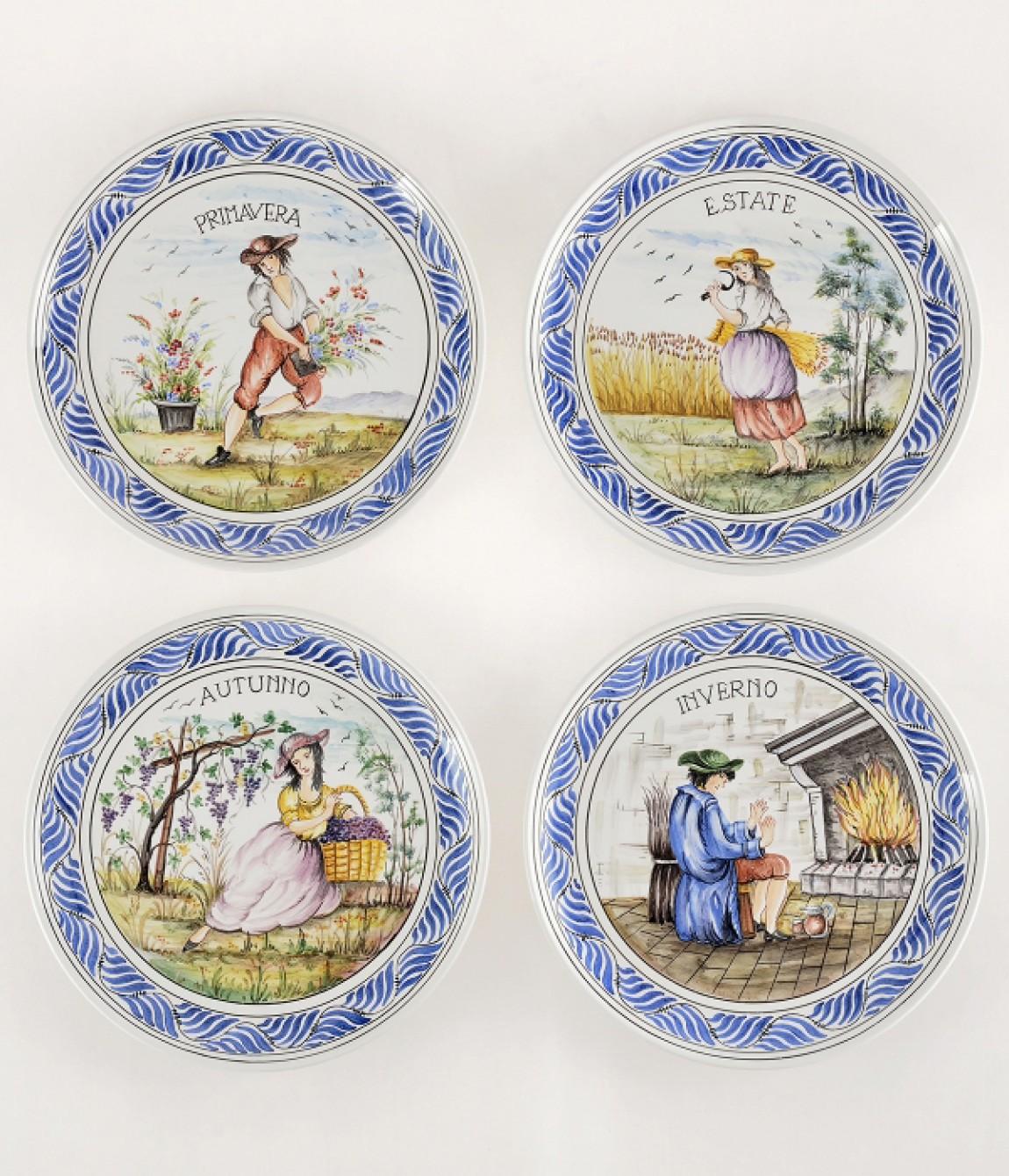 Serie 4 stagioni diametro31 piatti in ceramica decorati a for Piatti decorati