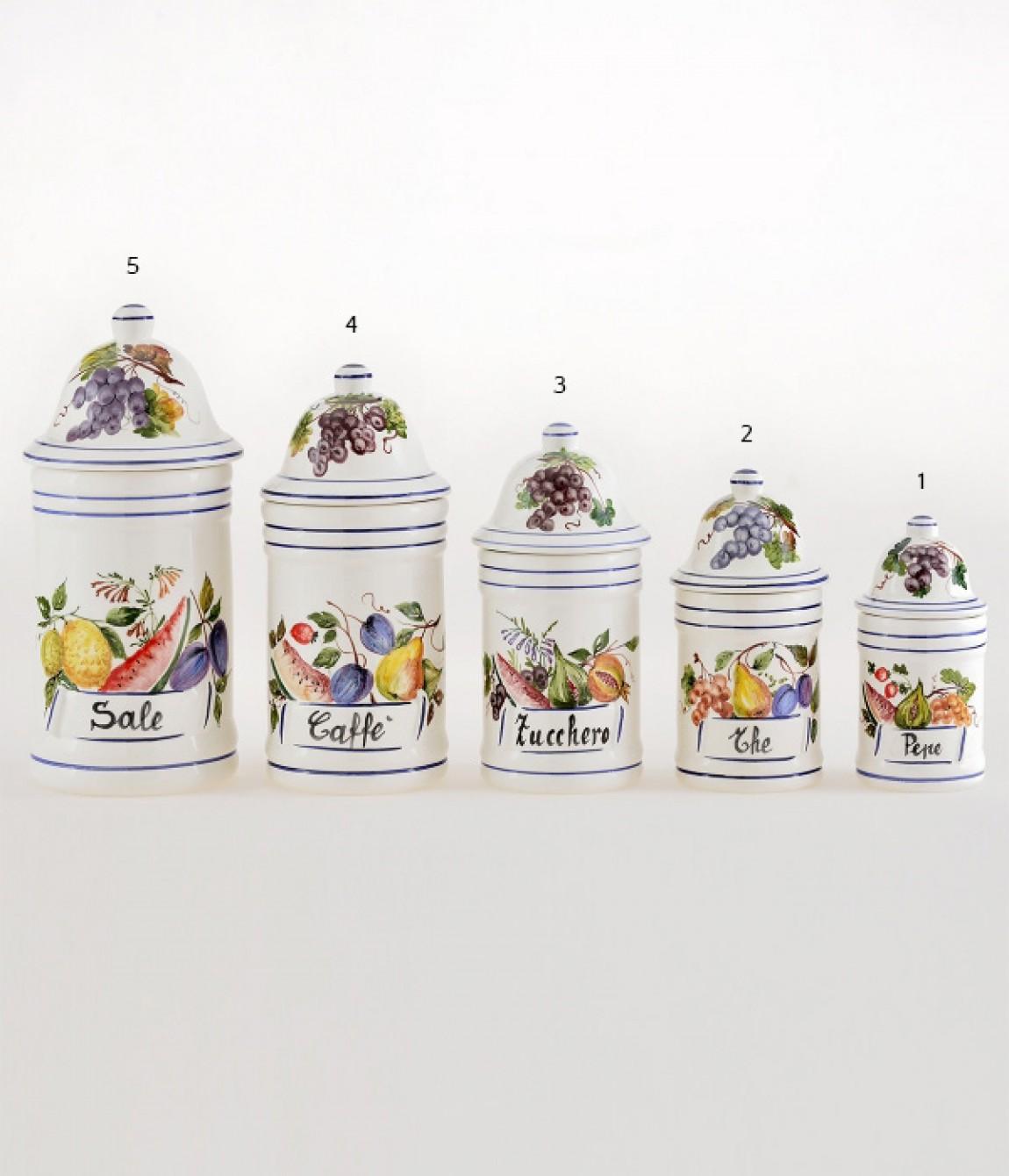 Vaso da cucina 5 altezza cm 27,5 Vaso da cucina in ceramica decorato ...