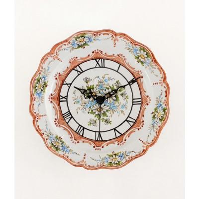 Orologio Piatto in ceramica decorato a mano
