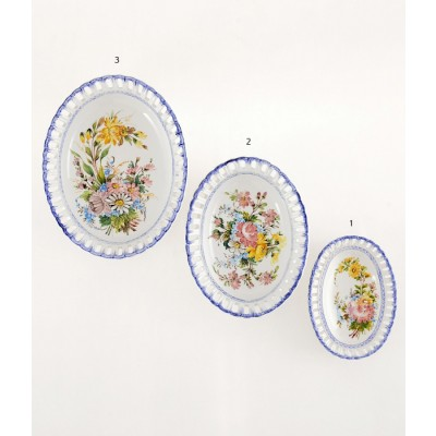 Paniere Portichetto Ovale 2 Lunghezza cm26 Paniere ovale in ceramica decorato a mano