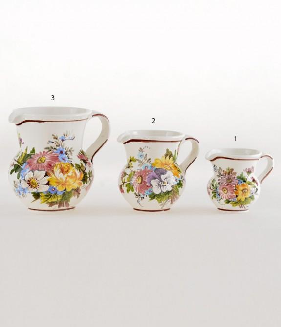 Boccale 1 litro dec. Fiori 3 Boccale in ceramica decorato a mano