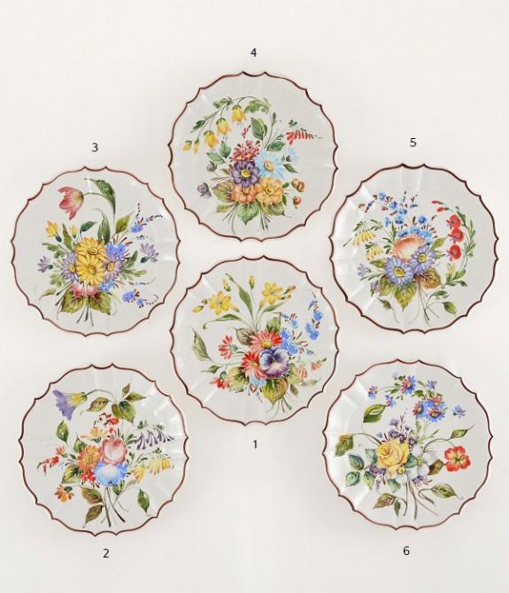 Piatto a fiori M diametro cm24- 1 Piatto in ceramica decorato a mano