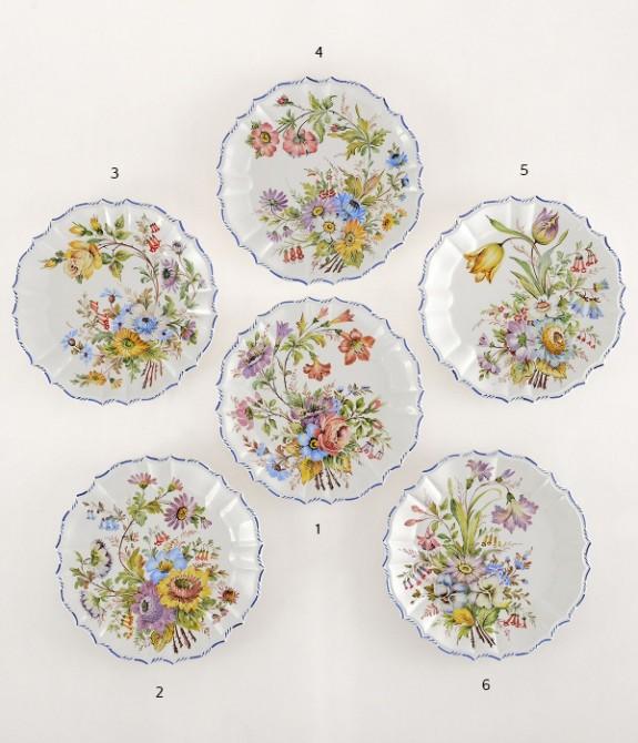 Piatto a fiori sfumati diametro cm24- 1 piatto in ceramica decorato a mano