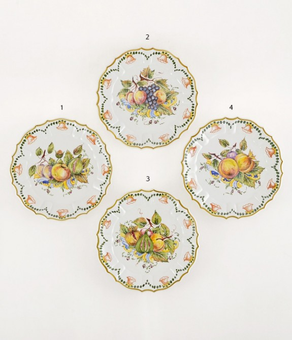Piatto a frutta diametro cm27- 1 Piatto in ceramica decorato a mano