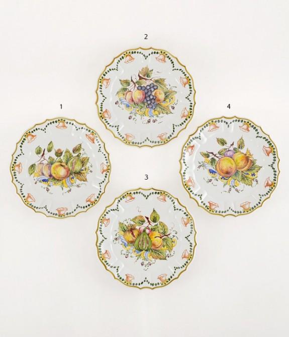 Piatto a frutta diametro cm27- 4 Piatto in ceramica decorato a mano