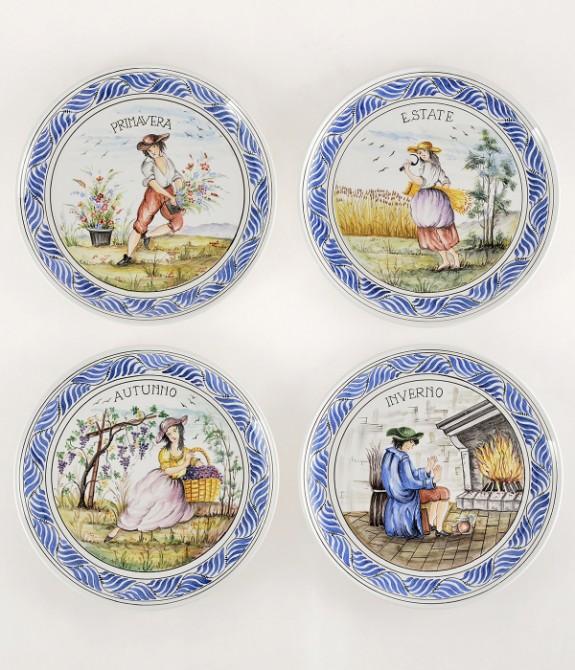 Serie 4 Stagioni Diametro31 Piatti in ceramica decorati a mano