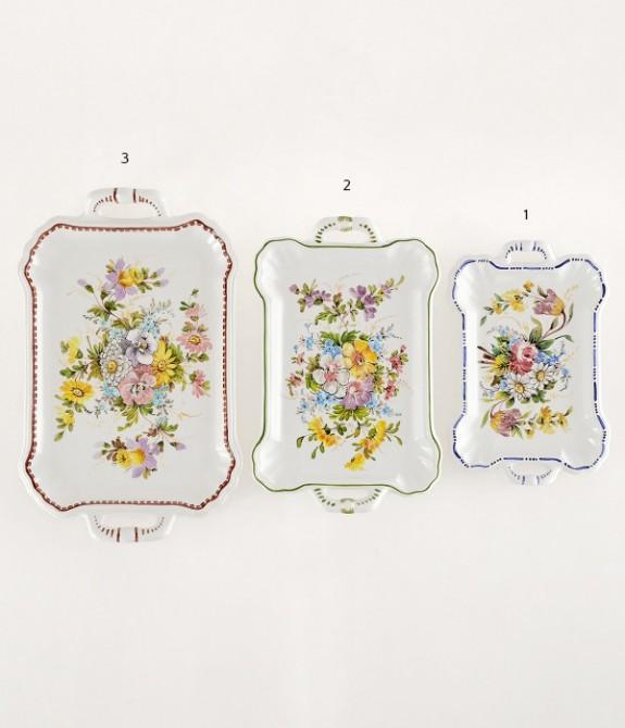 Vassoio Fiori 3 Lunghezza cm37 Vassoio in ceramica decorato a mano