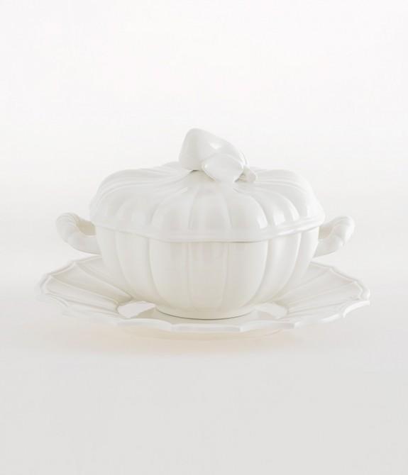 Zuppiera Alcione con piatto bianca Zuppiera in ceramica bianca