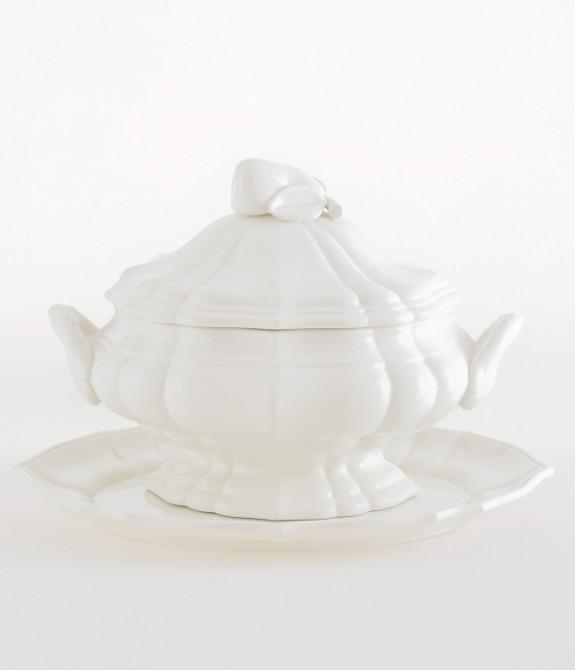 Zuppiera Impero con piatto bianca Zuppiera in ceramica bianca