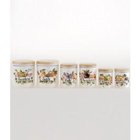Barattolo da cucina 1 altezza cm10 Barattolo da cucina in ceramica decorato a mano