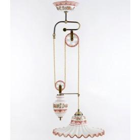 Lampadario a 2 carrucole saliscendi Lampadario in ceramica decorato a mano