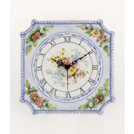 Orologio Rilievo quadrato in ceramica decorato a mano