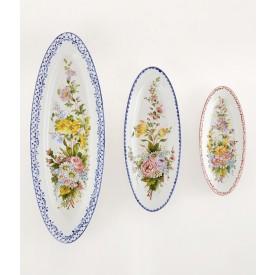 Ovale Liscio a fiori 1 lunghezza cm30 Piatto ovale in ceramica decorato a mano