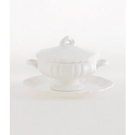 Zuppiera Lilon con piatto bianca Zuppiera in ceramica bianca