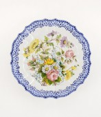Piatto a fiori sfumati diametro cm35- 1 Piatto in ceramica decorato a mano