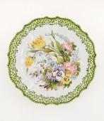 Piatto a fiori sfumati diametro cm35- 2 Piatto in ceramica decorato a mano