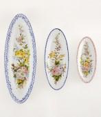 Ovale Liscio a fiori 3 lunghezza cm57 Piatto ovale in ceramica decorato a mano