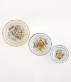Piattino Rotondo Portichetto 1 Paniere in ceramica decorato a mano